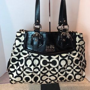 Rare Coach Black Cs on White Poppy Satchel
